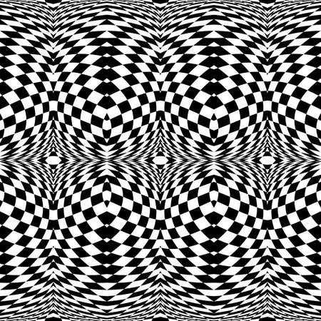 deform: Design seamless monochrome checkered pattern. Abstract illusion background. Vector art. No gradient Illustration
