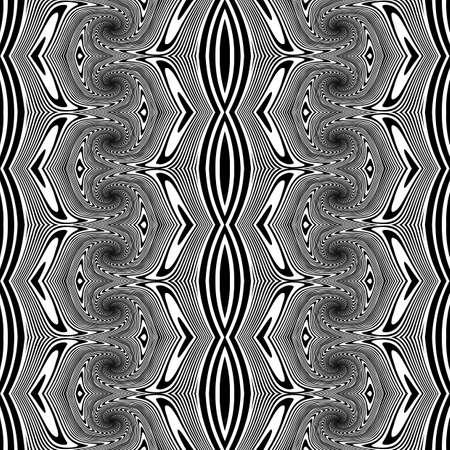 deform: Design seamless monochrome decorative pattern. Abstract lines textured background. Vector art. No gradient