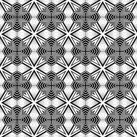 no gradient: Design seamless monochrome decorative pattern. Abstract striped background. Vector art. No gradient
