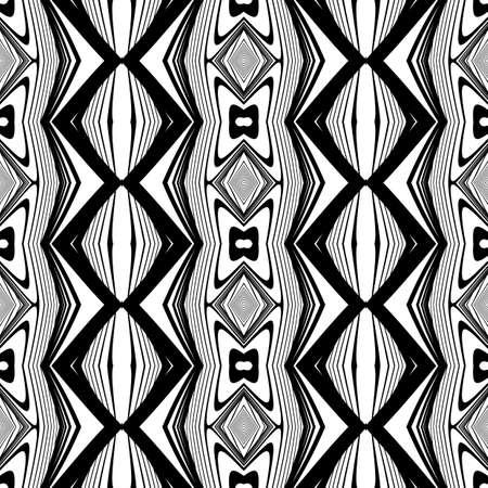 Design die nahtlose monochrome Diamantmuster . Abstrakte Linien strukturierten Hintergrund . Vektorkunst Kein Farbverlauf