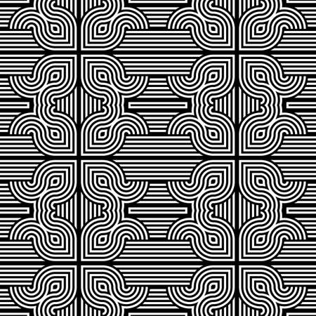 bends: Design seamless monochrome decorative pattern. Abstract stripy background. Vector art