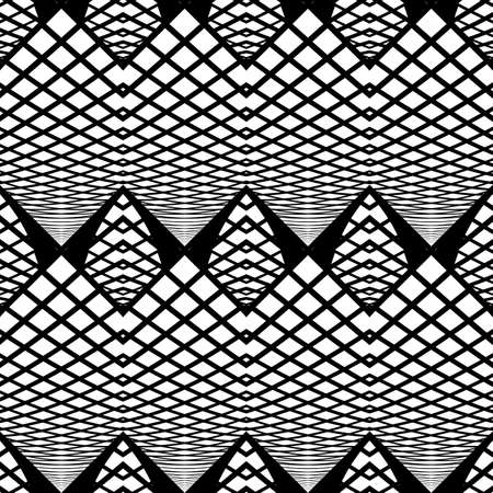 deform: Design seamless monochrome zigzag pattern. Abstract grid background. Vector art. No gradient