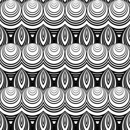 deform: Design seamless monochrome decorative pattern. Abstract background. Vector art