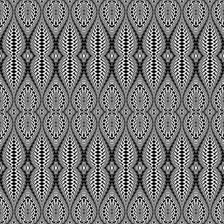 no gradient: Design seamless monochrome decorative pattern. Abstract textured background. Vector art. No gradient Illustration