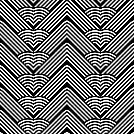 Design seamless monochrome interlaced pattern. Abstract stripy background. Vector art. No gradient