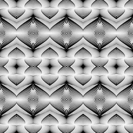 deform: Design seamless monochrome pattern. Abstract illusion background. Vector art. No gradient