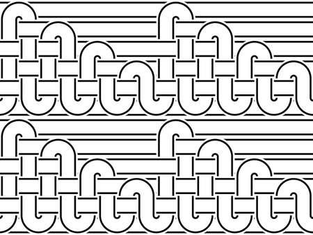 interlace: Design seamless monochrome interlaced pattern. Abstract stripy background. Vector art