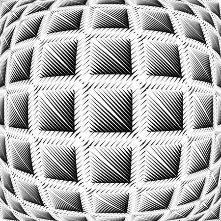 convex: Design warped square convex pattern. Abstract geometric monochrome background. Vector art. No gradient