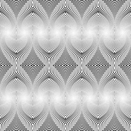 deform: Design seamless monochrome decorative pattern. Abstract background. Vector art. No gradient