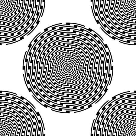 elipse: Design seamless monochrome illusion background. Abstract stripe ellipse pattern. Vector art. No gradient