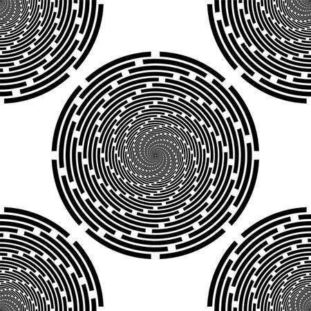 torsion: Design seamless monochrome spiral background. Abstract stripe torsion pattern. Vector art. No gradient Illustration
