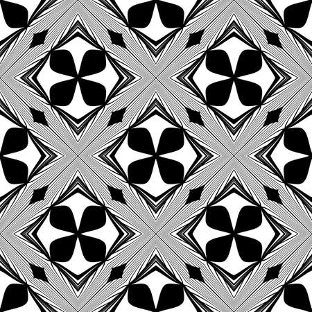 no gradient: Design seamless monochrome decorative pattern. Abstract lines textured background. Vector art. No gradient