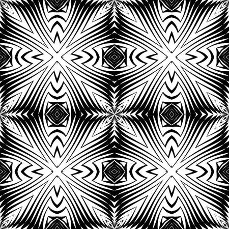 Design seamless monochrome decorative pattern. Abstract lattice background. Vector art. No gradient