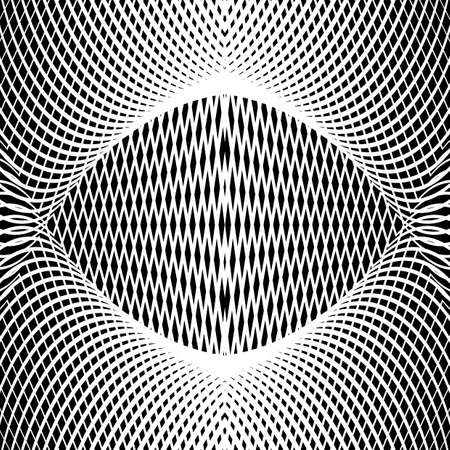 concave: Design monochrome grid textured background. Abstract concave backdrop. Vector art. No gradient