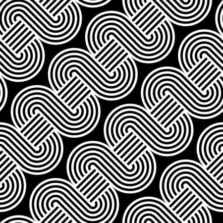 Design seamless monochrome waving pattern. Abstract stripy background. Vector art  イラスト・ベクター素材