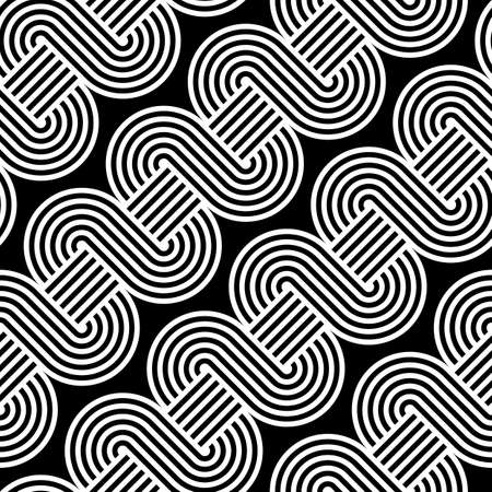 Design seamless monochrome waving pattern. Abstract stripy background. Vector art Illustration