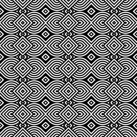 interlace: Design seamless monochrome geometric pattern. Abstract stripy background. Vector art