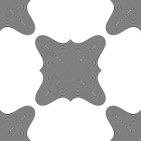 salient: Design seamless monochrome illusion background. Abstract stripe backdrop. Vector art