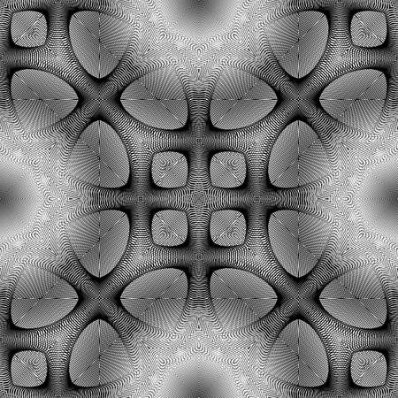 concave: Design seamless monochrome pattern. Abstract grid textured background. Vector art. No gradient Illustration