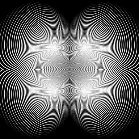 Design  monochrome illusion background. Abstract stripe torsion backdrop. No gradient Illustration