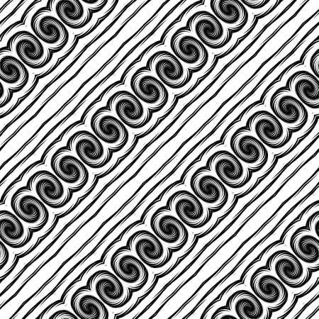Design seamless monochrome waving pattern. Abstract decorative background. Vector art. No gradient Illustration