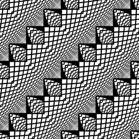 no gradient: Design seamless monochrome zigzag pattern. Abstract grid background. Vector art. No gradient