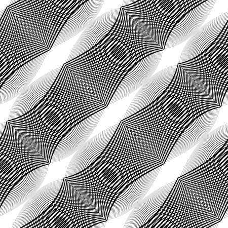 no gradient: Design seamless monochrome lines textured pattern. Abstract decorative background. Vector art. No gradient Illustration