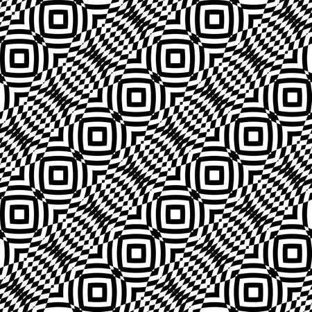 no gradient: Design seamless monochrome checkered pattern. Abstract illusion background. No gradient