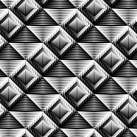 concave: Design seamless square convex pattern. Abstract geometric monochrome background.