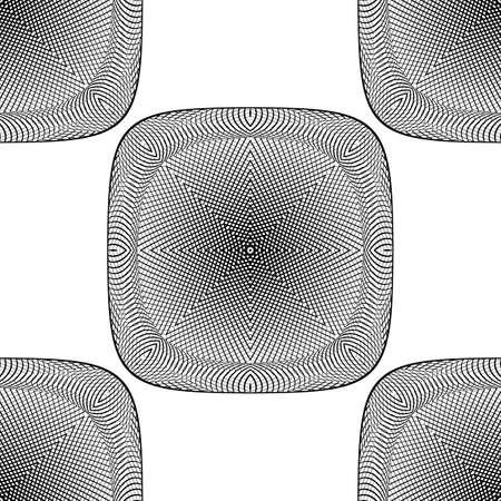checkered volume: Design seamless monochrome grid textured background. Abstract illusion pattern. Vector art. No gradient Illustration
