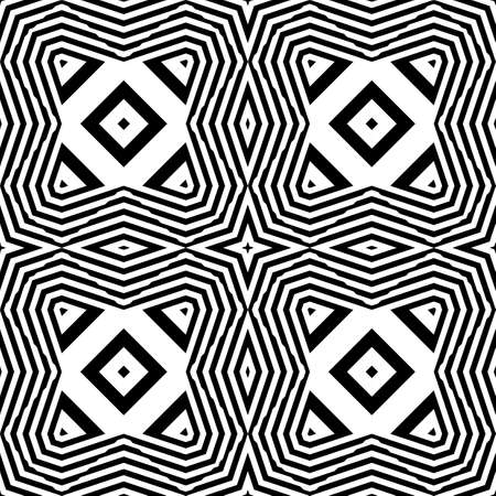 Design seamless monochrome geometric pattern. Abstract striped background. Vector art