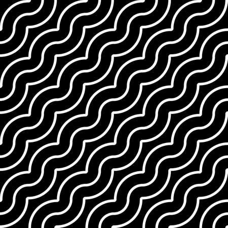Design seamless monochrome waving pattern. Abstract diagonal background. Vector art