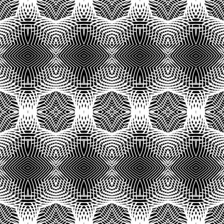 concave: Design seamless monochrome striped pattern. Abstract decorative background. Vector art. No gradient