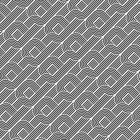 Design seamless monochrome pattern. Abstract stripy background. Vector art Illustration