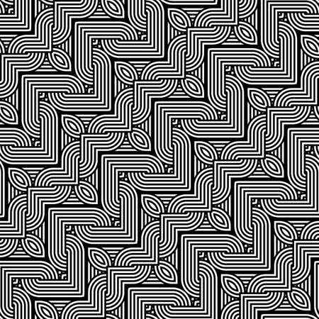 Design seamless monochrome interlaced pattern. Abstract stripy background. Vector art Stock Vector - 78501465