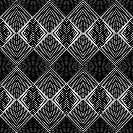 Design seamless monochrome lines pattern. Abstract geometric background. Vector art. No gradient Illustration