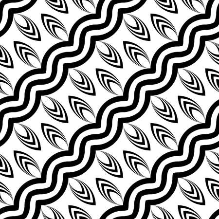 streaks: Design seamless monochrome waving pattern. Abstract zigzag background. Vector art