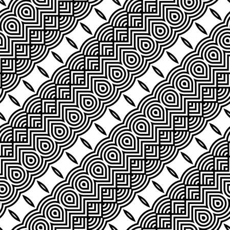 Design seamless monochrome decorative pattern. Abstract zigzag background. Vector art Ilustração