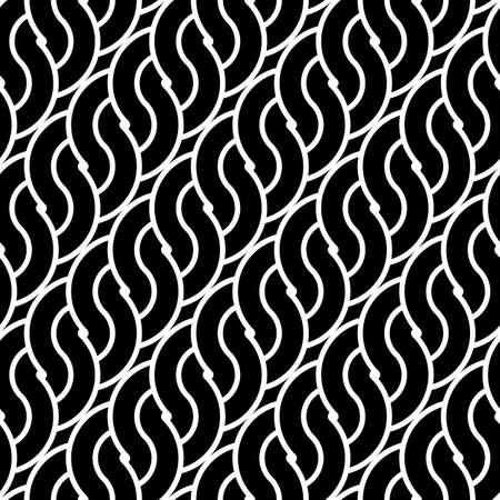 Design seamless monochrome waving pattern. Abstract stripy background. Vector art Illustration