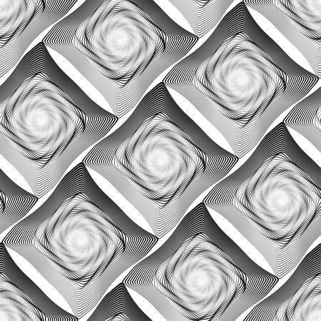 Design seamless monochrome illusion pattern. Abstract stripe torsion background. Vector art. No gradient Reklamní fotografie - 81187428