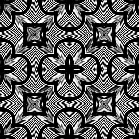 stripy: Design seamless monochrome waving pattern. Abstract decorative background. Vector art. No gradient Illustration