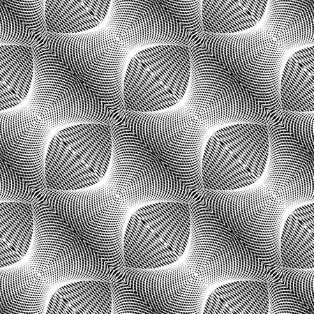 concave: Design seamless monochrome grid textured background. Abstract concave pattern. Vector art. No gradient