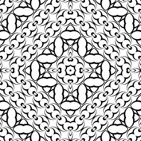 Seamless monochrome geometric pattern, abstract illusion background. Illustration