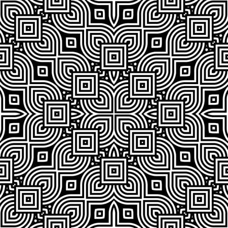 Design seamless monochrome decorative pattern. Abstract striped background. Vector art. No gradient