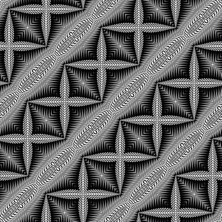 Design seamless monochrome cross pattern. Abstract textured background. Vector art. No gradient Illustration