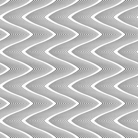 Design seamless monochrome waving pattern. Abstract zigzag background. Vector art. No gradient Illustration