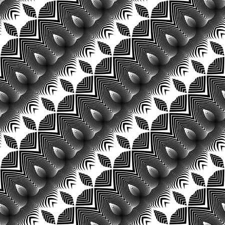 Design seamless monochrome pattern. Abstract zigzag background. Vector art. No gradient