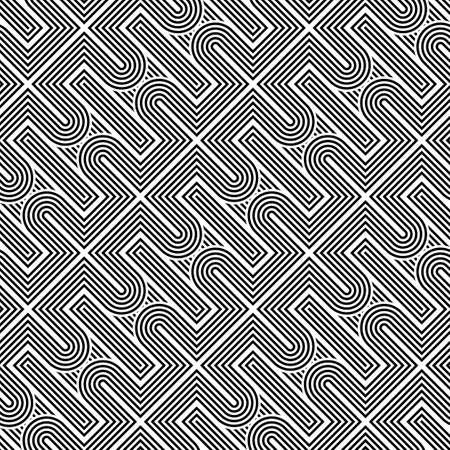 Design seamless monochrome geometric pattern. Abstract stripy background. Vector art.
