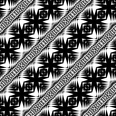 Design seamless monochrome geometric pattern. Abstract illusion background. Vector art. No gradient Illustration