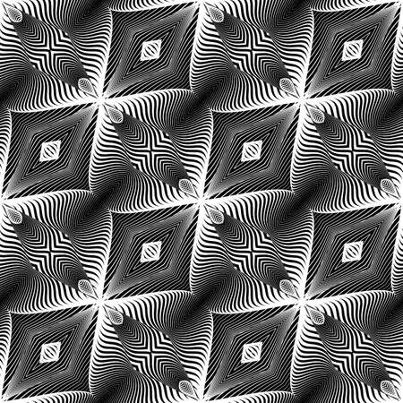 Design seamless monochrome pattern. Abstract illusion background. Vector art. No gradient